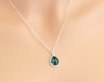Emerald  Necklace Silver Tear Drop Birthstone, Weddings, Special Occasions