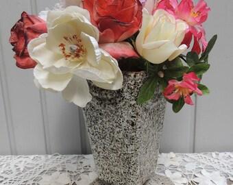 Vintage French Urn / French Enamel Urn / Enamel and Iron Urn / French Urn / Antique French Urn / Flower Urn / Gray Urn / French Decor