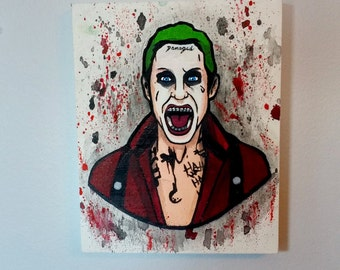 Suicide Squad - joker - Acrylic painting on Wood Canvas