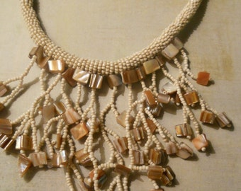 Wedding Choker Necklace with Ecru Seed Beads and Mother-of-Pearl Angular Beads