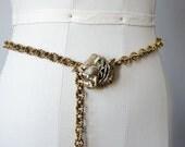 1960s vintage belt / gold chain belt / Hattie Carnegie tiger belt