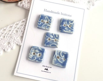Ceramic buttons ~ 5 handmade square porcelain buttons, light blue button, craft unique sewing supplies, knitting crochet supply, fasteners.