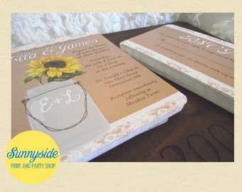 Printed Mason Jar Sunflower Wedding Invitations // Rustic Country Casual Reception Invite and RSVP  // kraft lace vintage sunflower