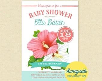 luau baby shower invitation tropical beach invite hawaiian baby shower pink or orange