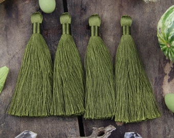 "Mossy Green Silky Luxe Tassels FALL, Autumn Natural Color, 2 Silky Handmade Long Tassels, Designer Jewelry Making Supply, 3.5"", 2 Pieces"