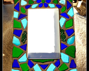 Stained Glass Mosaic Picture Frame with Flower, stained glass frame, flower picture frame, blue and green stained glass, home decor,