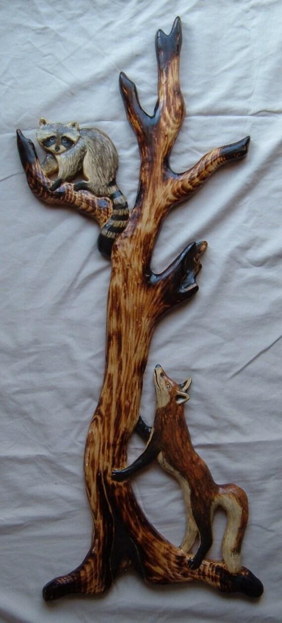 Raccoon red fox cub wall art chainsaw log cabin decor wood