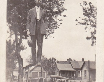 The Social Climber- 1910s Antique Photograph- Edwardian Dandy- Handsome Man- Top of Ladder- Found Photo- Funny Snapshot- Paper Ephemera