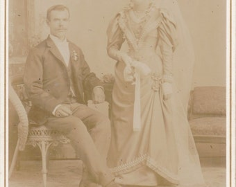 Victorian Wedding Portrait- 1800s Antique Photograph- Ghostly Bride and Groom- Milwaukee, Wisconsin- Cabinet Photo- Paper Ephemera