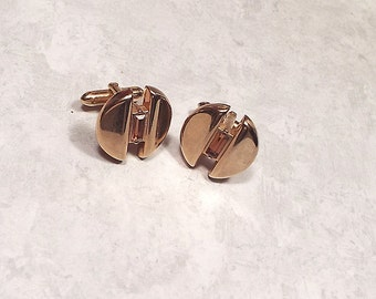 Vintage Cufflinks, Brown Cuff Links, Rhinestone Cufflinks, Brown Rhinestone, Swank Cufflinks, Designer Signed, Modernist Round, Gold Tone
