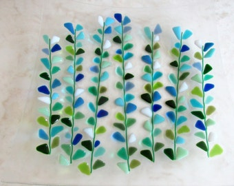 Fused Glass Plate, Glass Serving Dish, Square Glass Platter, Shakuf design Blooming Branches in Blue and Turquoise, Mothers Day Cake Platter
