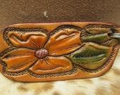 Western styling keychain , vintage pattern key fob , tooled leather keychain , floral leather , keychains , leather