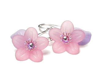 Pink Acrylic Flower Pastel Purple Leaf Petite Silver Earrings Lucite Floral Bead Pretty Princess Birthday Gift For Girl Sweet Dainty Jewelry