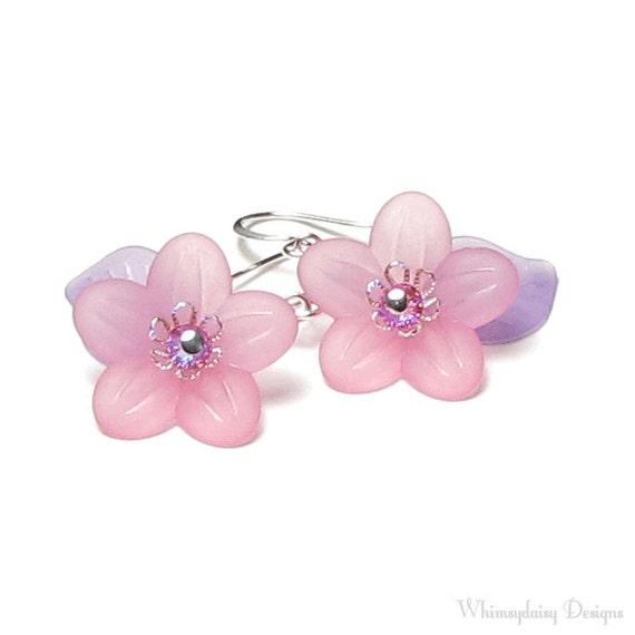 Pixie Dust Pink Flower Purple Leaf Petite Silver Earrings,Pastel Acrylic Flower Beads Sweet Princess Birthday Gift For Girl Dainty Jewelry