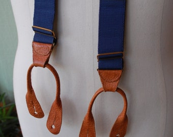 Vintage Mens and Womens Suspenders Y Back Retro Braces Fall Autumn Holiday Fashion Preppy Hipster Mr. Rogers Steampunk Rustic Blue and Brown