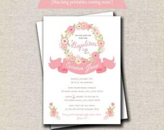 Floral Rose Baptism Invitation | Pink Girl Christening Invitation | Communion Confirmation Dedication Photo Invitation