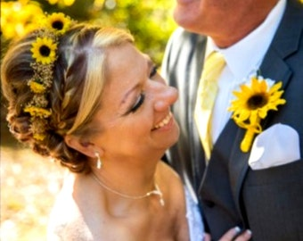 Sunflower bridal hair wreath twine tie summer Bridal Rustic Chic Woodland dried babys breath Headband Accessories barn wedding garland