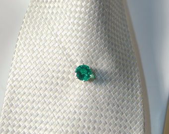 Deep green emerald tie tack