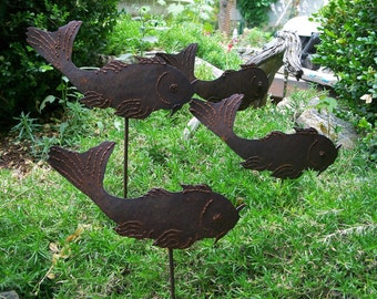 Garden Fish, Coi Fish For The Garden, Metal Garden Decor Coi Fish, Cat Fish