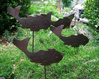 Garden Fish, Koi Fish For The Garden, Metal Garden Decor Koi Fish, Cat Fish