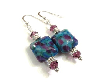 Blue & Purple Lampwork Earrings With Purple Swarovski Crystals, Blue Earrings, Purple Earrings, Crystal Earrings, Lampwork Jewelry