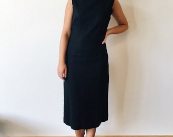 60's Handmade Black Midi Dress Size XS S