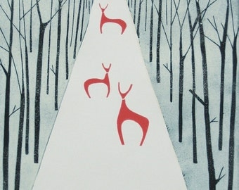Red Deers Winter Decor Print - Large Original Linocut ,A.P. Woodland Animals Contemporary Art  - Lino Print - Hand Pulled Printmaking Art