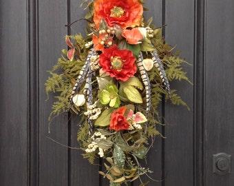 Spring Wreath Summer Wreath Teardrop Vertical Door Swag Decor Orange Poppies Green Moss Floral Swag Feathers Indoor Outdoor Decor