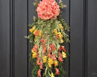 Spring Wreath Summer Wreath Teardrop Vertical Door Swag Decor Floral Door Decoration Indoor Outdoor Decor Yellow Peach Swag