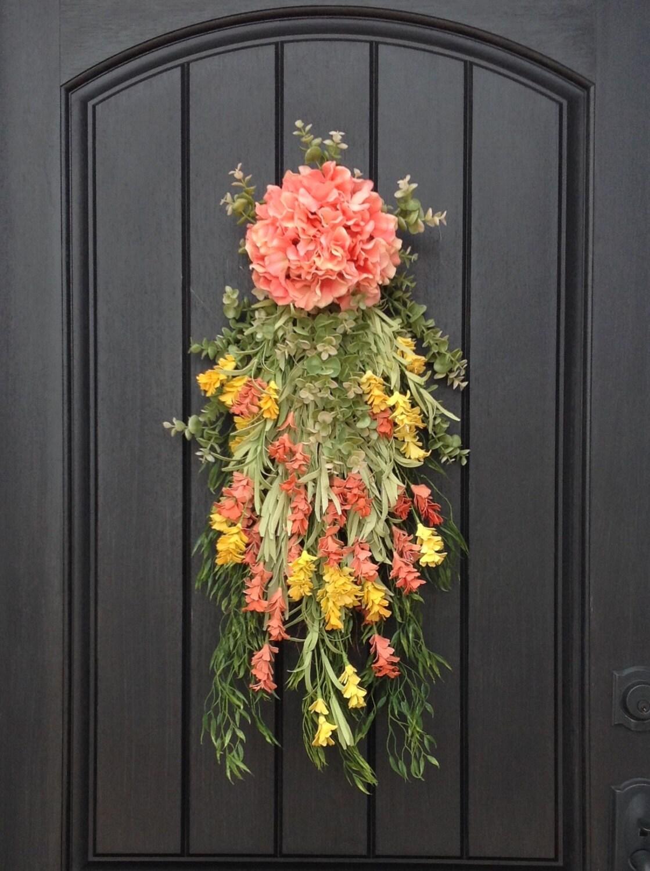 Spring Wreath Summer Wreath Teardrop Vertical Door Swag Decor