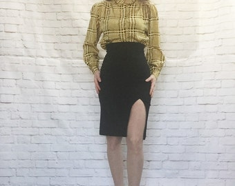Vintage 80s Iconic Houndstooth Blouse M Yellow Black Plaid Long Sleeve Secretary Top