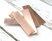 """COPPER Blank - 1/2"""" x 2"""" Metal Blank for Hand Stamped Jewelry-Use on Leather Cuffs or BAR Bracelets- 22gauge - 6 Pack - Metal Stamping Blank"""