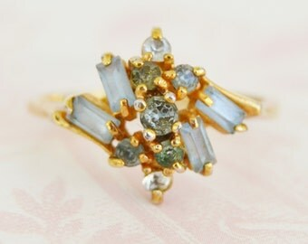 Vintage Light Blue and Clear Rhinestone Ring Size 8.5