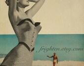 Retro Art Print, Summer Art, Paper Collage Print, Beach Art, Pin up Art, Surfing Art, Tan and Blue Art