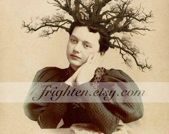 Surreal Art Print, Victorian Woman with Tree Branches in Hair, Unusual Nature Mixed Media Collage, 5X7 or 8x10 inch print