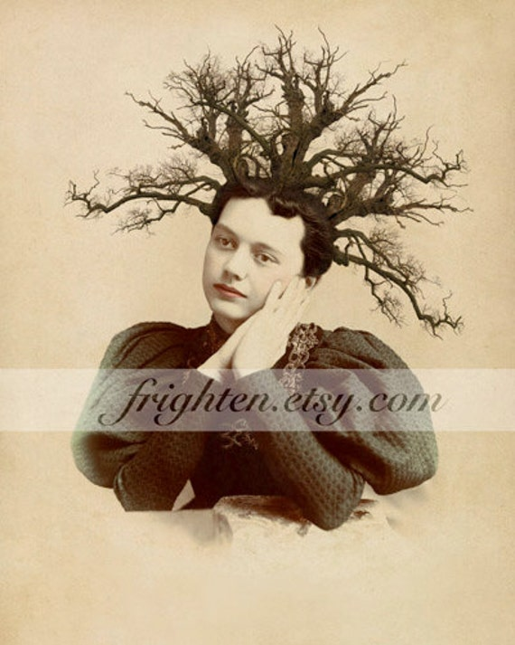 Surreal Art Print, Tree Art, Branches in Hair, Collage Art, Unusual Portrait, Victorian Woman, Avant Garde Art, Nature Art, Weird Wall Art