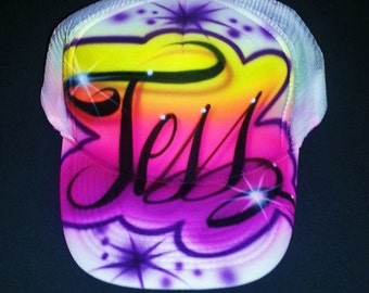 Airbrush Trucker Hat With Name And Favorite Colors, Airbrush Hat , Airbrush Cap, Custom Airbrush, Trucker Hat, Airbrush, Painted Hat, Cap