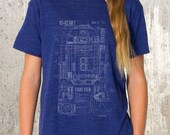 Kid's Graphic Tee - Grunge Blueprints for R2D2 Unit - American Apparel TriBlend - All Kid's Sizes Available
