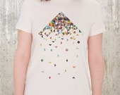 Women's Organic T-Shirt - Crumbling Triangles - American Apparel Women's Relaxed Fit Tee