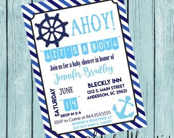 Ahoy It's a Boy! Nautical Baby Shower Printable Invitation