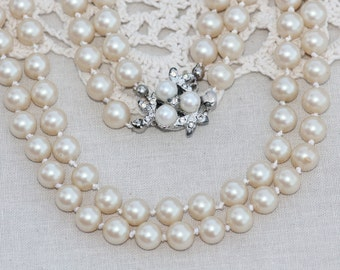 ART DECO Multi Strand Pearl Necklace,Ivory Faux Pearl,Two Strand Pearl Coker,Wedding,Bridal Necklace,Something Old,Paste Rhinestone Clasp