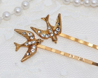 Gold ART DECO Pave Bird Bobby Pins,Marcasite Bridal Bobby Pin,Bird Hair Accessory,Woodland,Wedding,Diamante,Something Old,Pave Clear Crystal