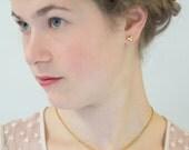 Gold Nugget Earrings, Triangle Earrings, Solid Gold Earrings, Gold Stud Earrings 14k, Dainty Gold Earrings, Yellow Gold Earrings