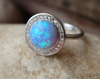 Silver Opal and Zirconia Ring, Bridal Opal Ring, 925 Sterling Silver Ring, Blue Opal Silver Ring with Cubic Zirconia Stones, Round Opal Ring
