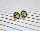 Vintage Enamel Earrings - Blue & Pink Daisies - Flower Enamel - Oval - Surgical Steel Earrings - Stud Earrings - Soft Enamel