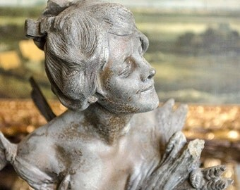 Antique French Bust, Fairy, from France, Spelter