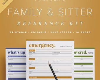 Mini Family + Sitter Reference Kit – Editable Half Letter Size, Medical Info, Emergency Contacts, Home Management Binder / PDF Printables