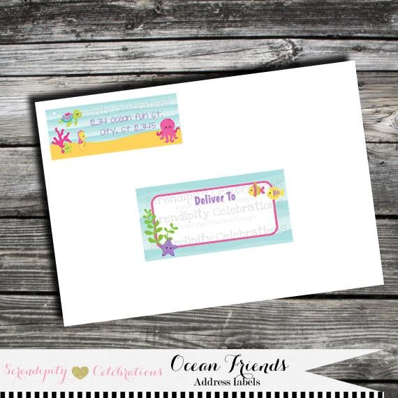address labels envelope labels ocean friends return address