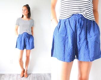 Vintage blue polka dot summer shorts // mini shorts // Mod flowy shorts //high waisted polka dot shorts // XS small 80's shorts // cotton