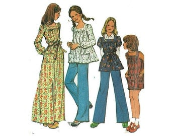 Girls Boho Smock Dress Tops Jumper Pants Uncut Sewing Pattern Size 14 1970s 70 hippie chic fashion McCalls 3722